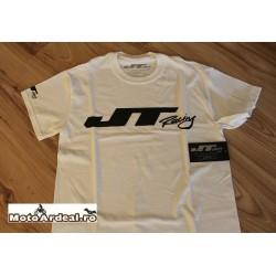 Tricou Jt Alb Logo Negru